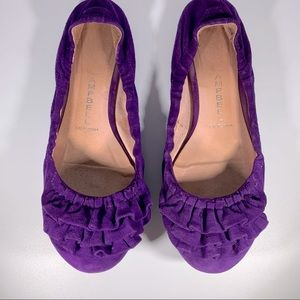 Jeffrey Campbell Purple Ruffle Suede Flats